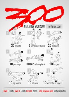 300 Workout 100 no-equipment workouts by Neila Rey Fitness Workouts, Gym Workout Tips, Ab Workout At Home, At Home Workouts, Fitness Tips, Health Fitness, Workout Routines, Hero Workouts, Workout Exercises