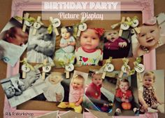 DIY Birthday Picture Display. Display month-to-month photos or year by year photos. Perfect for party idea for any age!! R & R Workshop #diy #party