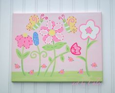 Flower Land Butterfly and Daisy Garden Nursery Art by kaiulani, $40.00