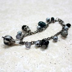 Black White and Gray Glass Bead Bracelet  by carolinascreations, $8.00