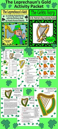 The Leprechaun's Gold St. Patrick's Day Activity Packet : St. Patrick's Day reading and language arts activity packet complementing the children's book, The Leprechaun's Gold, by Pamela Duncan Edwards.   Contents include: * Reading Comprehension Quiz over The Leprechaun's Gold * Vocabulary Worksheet  * Sequencing Activity  * Reading Selection & Quiz over the Celtic Harp * Celtic Harp Craft  * Five Coloring Sheets  #St #Patrick's #Day #Language #Arts #Activities #Teacherspayteachers