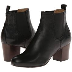 Frye Stella Chelsea Short (Black Soft Vintage Leather) Women's Pull-on... ($161) ❤ liked on Polyvore featuring shoes, boots, ankle booties, ankle boots, black, short booties, black bootie boots, black boots, chunky black booties and chunky-heel ankle boots