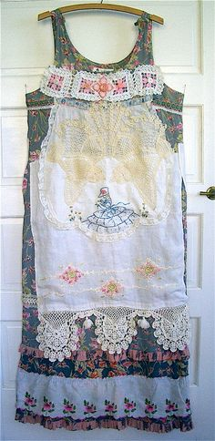Vintage Antique Apron DRESS Table LINENS  Embroidery Crochet Lace Trim Wearable Art COLLAGE mybonny