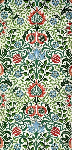 William Morris Persian Design Counted Cross Stitch Chart by Orenco Originals. William Morris: This design was created from the works of the artist William Morris. William Morris's Persian Flower Design from Tapestry In The Arts and Crafts Style. William Morris Wallpaper, William Morris Art, Morris Wallpapers, William Morris Patterns, Floral Wallpapers, Textile Patterns, Textile Design, Embroidery Patterns, Textile Prints