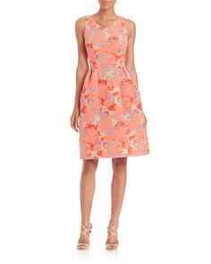 Carolina Herrera | Pink Hydrangea Jacquard Fit-&-flare Dress | Lyst
