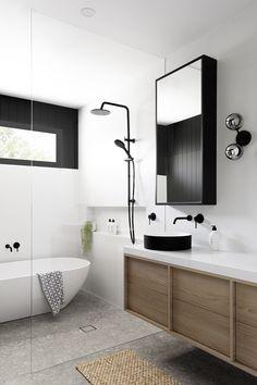 Laundry In Bathroom, Bathroom Storage, Small Bathroom, Master Bathroom, Bathroom Black, White Bathroom Wall Tiles, Modern Bathroom Cabinets, Modern White Bathroom, Master Master