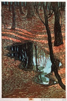 Kasamatsu Shiro 1955. In the woods, woodcut