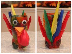 Thanksgiving Craft for Kids | Turkey Vase Centerpiece photo