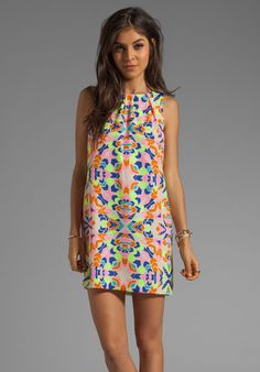 MARA HOFFMAN Printed Front Pleat Shift Dress in Aloha Stone