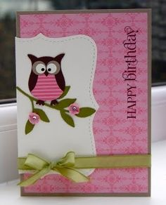 Can't put my finger on why I like this so much, but it is adorable. SU owl punch and top note die--very cute by lorene