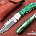 Damascus handmade folding ,hunting,liner lock knife with paka wood