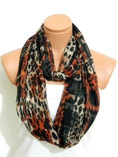 Infinity Scarf Leopard scarfcinnamon by WomanStyleShop on Etsy, $19.00