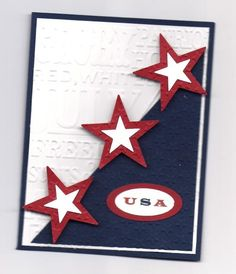 "Patriotic Embossed ""Celebrate the USA!"" Card...with cutout stars. By CarylA: Cards and Paper Crafts at Splitcoaststampers."