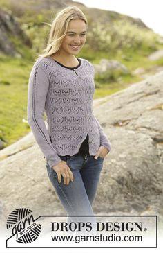 "Knitted DROPS jacket in garter st with lace pattern in ""BabyAlpaca Silk"". Size: S - XXXL. Free pattern by DROPS Design."