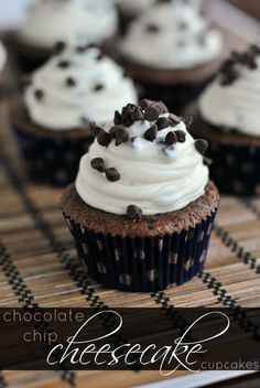 Chocolate cupcakes topped with a Chocolate Chip Cheesecake frosting. Topped with extra mini morsels. Chocolate cupcakes topped with a Chocolate Chip Cheesecake frosting. Topped with extra mini morsels. Baking Cupcakes, Yummy Cupcakes, Cupcake Recipes, Cupcake Cakes, Coconut Cupcakes, Cup Cakes, Mini Cupcakes, Dessert Recipes, Filled Cupcakes
