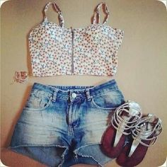 Cute crop,top with sandlez and shorts