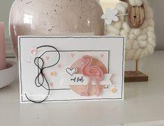 Een kaartje gemaakt met de prachtige Aquarel Flamingo stempelset van Els Brigé .           De flamingo heb ik eerst gestempeld op ro...