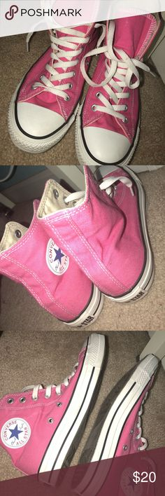 Pink converse high tops Pink high tops barely worn . Barely any stains and marks Converse Shoes Sneakers