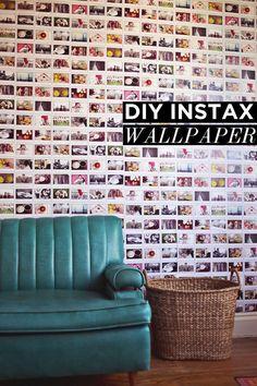 a beautiful mess :: diy instax wallpaper. my kind of wall :) Wallpaper Wall, Photo Wallpaper, Crazy Wallpaper, Wallpaper Awesome, Office Wallpaper, Diy Foto, Do It Yourself Inspiration, Ideias Diy, Beautiful Mess