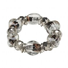 Handcrafted Silver Black and Clear Copper Foil Lampwork Beads Stretch Bracelet | eBay