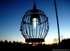Hanging Solar Bird Cage Mason Jar Garden Decor - Upcycled Lighting, Wedding, Outdoor Garden Light, Lawn Ornament