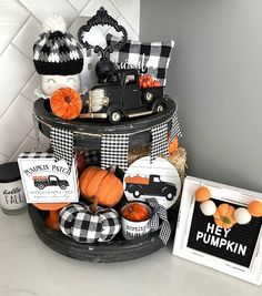 Fall Crafts, Holiday Crafts, Pumpkin Books, Plaid Decor, Pumpkin Candles, Spring Projects, Tiered Stand, Fall Friends, Tray Decor