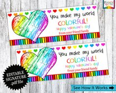INSTANT DOWNLOAD - Rainbow Color My World Treat Bag Toppers Holiday Favor Labels - Happy Valentines Day Party Digital EDITABLE pdf file  ★★★★★★★★★★★★★★★★★★★★★★★★★★  Welcome to PartySparkle! Perfect for classroom parties or to pass out to friends. These cute Valentines Day Treat bag toppers are sure to be a hit. Simply purchase, download, add the signature in Adobe Reader and print.  TREAT BAG TOPPER FITS RESEALABLE SANDWICH OR SNACK SIZE BAGGIES  ✱✱✱DIGITAL .PDF FILE DELIVERED VIA EMAIL✱✱✱…