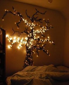 "Christmas lights can be added to just about any bedroom in your home to create a magical and cozy ambiance. I love the idea of a ""night light"" or just for deco My New Room, My Room, Girl Room, Hanging Christmas Lights, Holiday Lights, Xmas Lights, Hanging Lights, Fairy Lights On Wall, Diy Lampe"