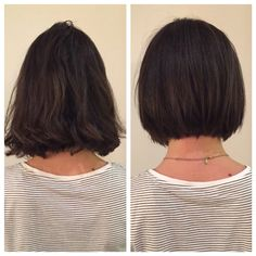 Before and after. Razor Bob. Bob. Haircut. Texture. Textured Bob. Bumble and bumble