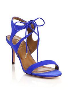 Aquazzura - Colette Suede Ankle-Tie Sandals