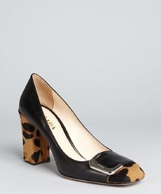 bf45974287f 632.00 Prada black leather leopard print calf hair block heel pumps All  About Shoes