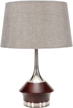 Enzo Contemporary Table Lamp Brushed, Nickel Finish Metallic