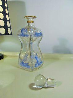 Antique Dutch Danish Mosser Art Glass Pinched Decanter Perfume Bottle Blue Color with Crown Stopper HOLMEGAARD Enamel Decor #homedecor #christmas #antique #decor