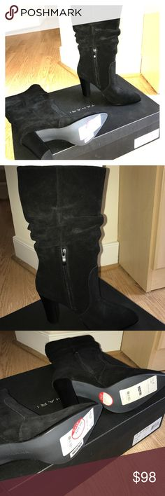 """Tahari NWT SUEDE BOOTS NWT. Ordered 2 because I love black boots but now I have a HUUUUGE collection. These are Alanna Style. Never worn or tried on because the other pair is PERFECT AND EXACTLY LIKE THESE. LEATHER UPPER SIZE 6.5. Slouchy styled. Let me know if you want the box. If so, may take a bit to find the right shipping box but I'll do it.  3 3/4"""" heel. Shaft 10 1/2"""" circumference @ top of boot:  14"""". Buy any 2 items in my closet and get 3rd lowest priced item FREE! Tahari Shoes…"""