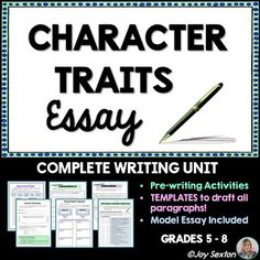 Here's a literary essay made easy and ready to use with ANY text! This step-by-step resource is designed to lead your students with models and supports through the entire process of writing a character analysis essay.
