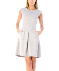 Gray Cap-Sleeve Fit & Flare Dress #zulily #zulilyfinds