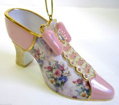 Lena Liu Fancy Shoe Ornament Collection Bradford Exchange Ribboned Cameo.