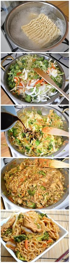 Chicken yakisoba- I'd use rice noodles instead of ramen though...and way less worcestershire