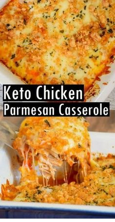 This Keto Chicken Parmesan Casserole is a super easy dinner recipe that's bursting with savory, flavorful, cheesy, tomatoey flavor! Your whole family will love it, and you'll love how simple it is to put together… dinner recipes for beginners Keto Recipes Healthy Diet Recipes, Ketogenic Recipes, Cooking Recipes, Keto Snacks, Keto Diet Meals, Diet Menu, Diet Foods, Easy Low Carb Recipes, Cooking Kale