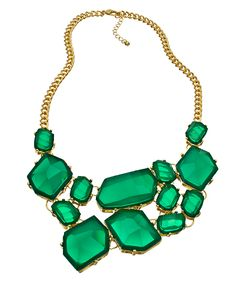 Blu Bijoux Gold and Green Freeform Bib Necklace- have and love