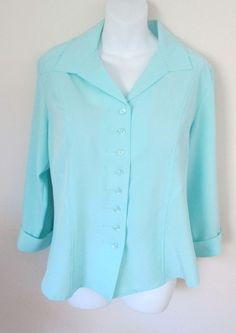 Dressbarn Stretch Size L Mint Blue Blouse Button Down Shirt 3/4 Sleeve #dressbarn #ButtonDownShirt #Career