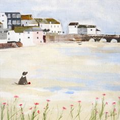 St Ives (HCC19) Beach & Harbour Canvas by Hannah Cole http://www.thewhistlefish.com/product/st-ives-canvas-by-hannah-cole