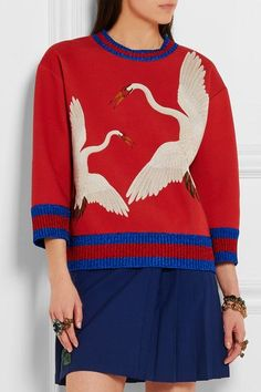 Gucci for NET-A-PORTER - Printed Bonded Cotton-jersey Sweatshirt - Red -