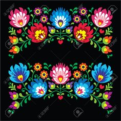 Polish floral folk embroidery patterns for card on black - Wzory Lowickie Stock Vector