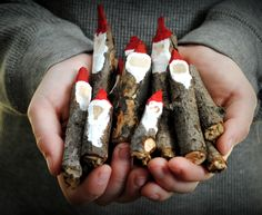 DIY: Twig Gnomes / Santa. How nifty!! So going to do this and make some cute little wood Gnomes!!! :)