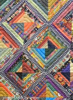 Close up, Mark the X by Carol Esch and Lois Walter.Quilt Inspiration: Modern Quilt Month 2015 (part Colchas Quilt, Scrappy Quilts, Easy Quilts, Man Quilt, Quilt Top, Quilting Projects, Quilting Designs, Nancy Zieman, Quilt Modernen