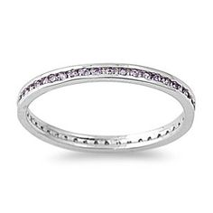 Elisa's 2mm Brilliant Channel Set Amethyst Sterling Silver Eternity Ring