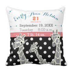 Giraffe Family Baby Girl Birth Record Birth Stats Pillow