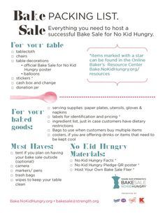 For tips and resources to make your Bake Sale for No Kid Hungry a success visit the online Bakers' Resources: bake.nokidhungry.org/resources