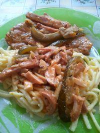 Visegrádi pecsenye  Hozzávalók: - sertéshús (pl. karaj, tarja, comb) - só - bors - olaj vagy zsír - vöröshagyma - fokhagyma - gomba - paprika - paradicsom - kakukkfű - pirospaprika - sonka - csemege uborka - tejföl - petrezselyem Meat Recipes, Cooking Recipes, Hungarian Recipes, Hungarian Food, European Cuisine, Food 52, Food Hacks, Food Tips, No Cook Meals